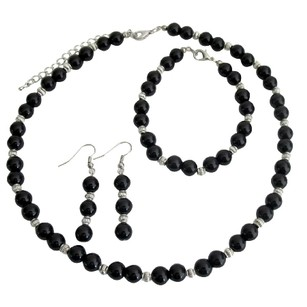 Fashion Jewelry For Everyone Alluring Jewelry Black Pearls And Silver Spacer Wedding Jewelry Set - See More At: