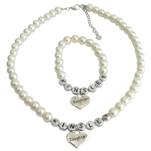 Fashion Jewelry For Everyone Big Sister Little Sister Ivory Pearl Personalized Necklace Bracelet
