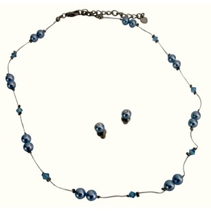 Fashion Jewelry For Everyone Cheap Jewelry Blue Pearls Aquamarine Crystals Accented In Silk Thread