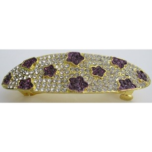 Amethyst Clear Crystals Hair Barrette Bridal Hair Jewelry Hair Clip