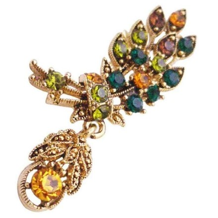 Multicolor Antique Gold Leaf Cute Dangling Crystals Brooch/Pin