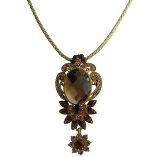 Antique Pendant Vintage Smoked Topaz Crystals Antique Gold Frame