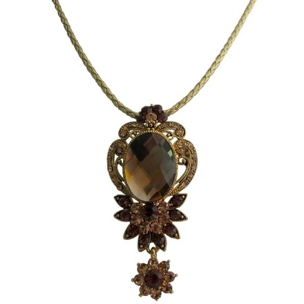 Antique Golden Pendant Vintage Smoked Topaz Crystals Gold Frame Necklace