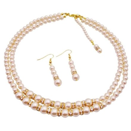 Ivory Back Drop Down Double Stranded Pearls Jewelry Set