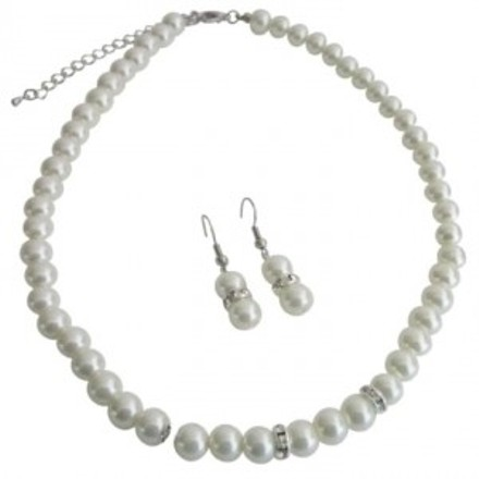 Bridal Jewelry Matron Of Honor Ivory Pearls With Diamond Like Spacer