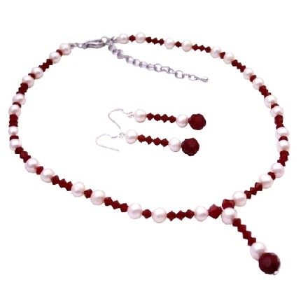 Bridal Jewelry Swarovski White Pearls & Red Crystal Necklace Earrings Set