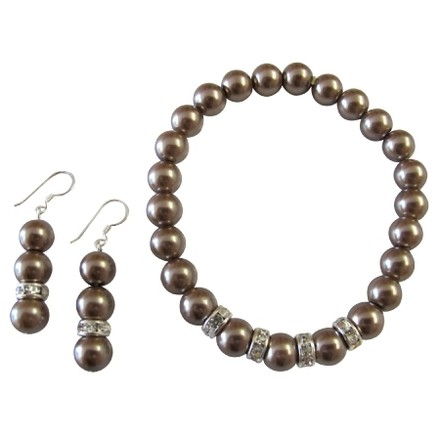 Bridesmaid Brown Pearl Jewelry Stretchable Bracelet Earrings Set Flower Girl Gift