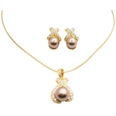 Bronze Pearls Pendant Necklace Set Gold Plated Jewelry Set