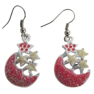 Christmas Gift Glittering Stars And Moon Dangling Earrings Fabulous Gift