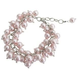 Chunky Cluster Beaded Bracelet In Soft Pink Jewelry Gift