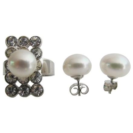 White Classic Round Natural Freshwater Pearl Ring with Stud Earrings