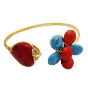 Classy Gold Cuff Bracelet Turquioise & Coral Stones Embedded Bracelet