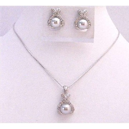 Light Gray Dainty Pearl Pendant Cheap Bridesmaid Jewelry Set
