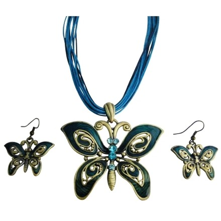 Blue Ethnic Aquamarine Rhinestone Green Butterfly Jewelry Sets