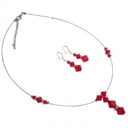 Red Finding Best Prom Night Sexy Lite Siam Jewelry Set