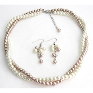 Champagne/Ivory Fine Bridesmaid In and Pearls Two Strands Twisted Necklacet Jewelry Set