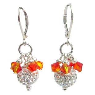 Silver/Orange Fire Opal Crystals Pave Ball Hang From Leverback Earrings