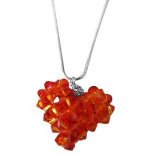 Fire Opal Swarovski Crystals Autumn 3d Puffy Heart Pendant Necklace