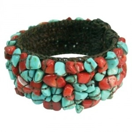 Turquoise Fun Wear Elegant Stylish Gift Cuff Coral Nuggets Bracelet