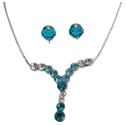 Glmorous Jewelry For Prom Or Graduation Party Dazzling Blue Zircon Crystal
