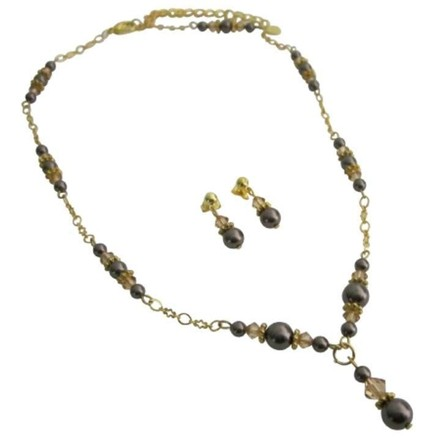 Brown/Light Colorado Gold 22k Plated Swarovski Pearls Crystals Necklace Jewelry Set
