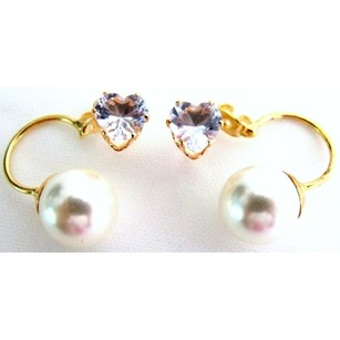 Gorgeous Beautiful Cz Heart Ivory Pearl Ear Jacket Earrings Valentine Holiday Gift
