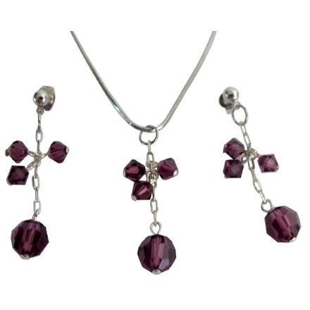 Purple/Amethyst Graduation Party Sparkling Crystal Jewelry Set