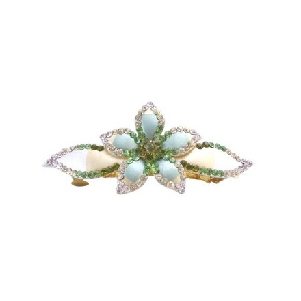Green Barrette Hand Painted Flower Olivine Clear Peridot Crystals Hair Accessory