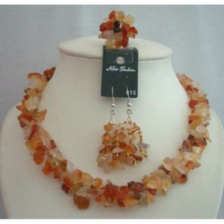 Orange Handcrafted Carnelian Stone Chip Necklace W/ Ring Jewelry Set