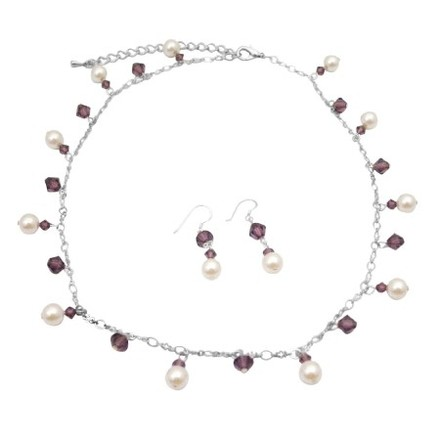 Handcrafted Jewelry Swarovski Amethyst Crystals White Pearls Necklace