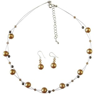 Harvest Gold Brown Pearls & Lite Colorado Crystals Bridal Jewelry