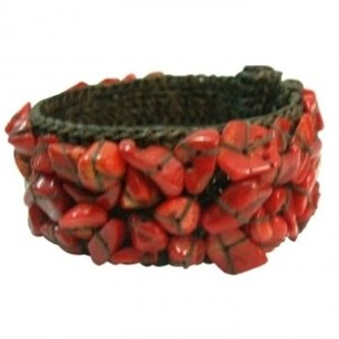 Inexpensive Smart Looking Cotton Rope Red Coral Wire Cuff