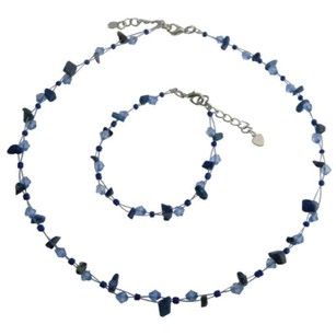 Lapis Nugget Sapphire Crystals Beautiful Jewelry Set