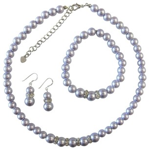 Lavender/Purple Pearls Faux Pearl Bridesmaid Sterling Silver 92.5 Earrings W/ Stretchable Bracelet Jewelry Set