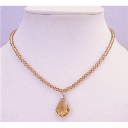 Light Brown Lite Colorado Crystals Briollette Pendant Prom Bridesmaid Necklace
