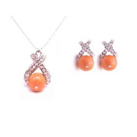 Coral Orange Magnificent Swarovski Pearls Necklace Swarovski Necklace Jewelry Set