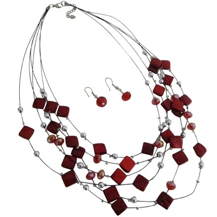 Multi Strand Red Fancy Silver Bead Necklace Earring Bridesmaid Jewelry