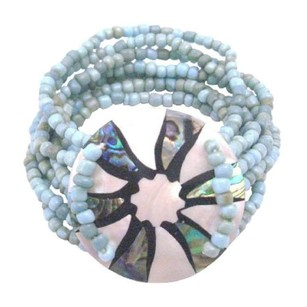 Blue Multi Stranded Turquiose Beads Round Shell Bracelet