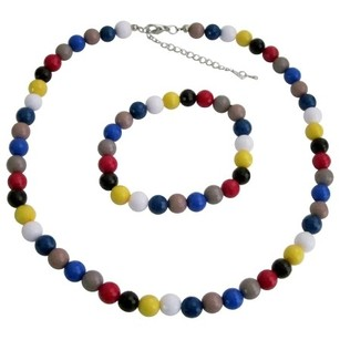 Multicolor Faceted Beads Necklace Bracelet Birthday Return Gift Jewelry Set