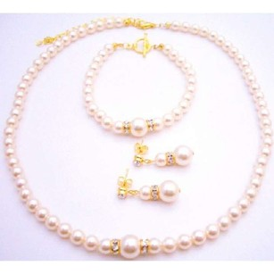My True Love Chic Swarovski Pearls Necklace Earrings Bracelet Gold Set