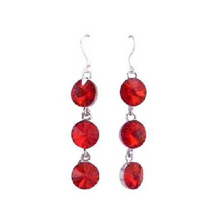 Red Passionate Lite Siam Crystal Faceted Round Beads Sterling Silver Earrings