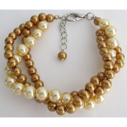 Pearl Bracelet Classic And Contemporary Gold & Yellow 3 Strand Bracelet