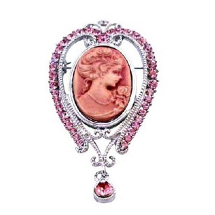 Pink Cameo Lady Pink Crystals Victorian Vintage Brooch Pendant