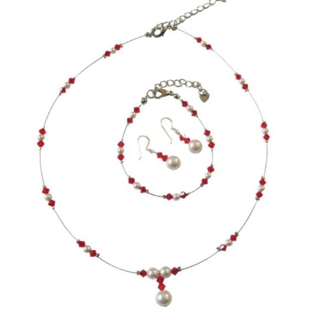 White/Red Crystals Pearls Illusion Complete Jewelry Set
