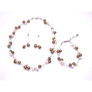 Silky Freshwater Pearls Bronze & Ivory Potato Shaped Handmade Jewelry