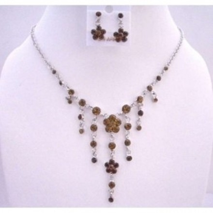 Brown Smoked Topaz Crystals Dangling Flower Simulated Crystals Necklace Jewelry Set