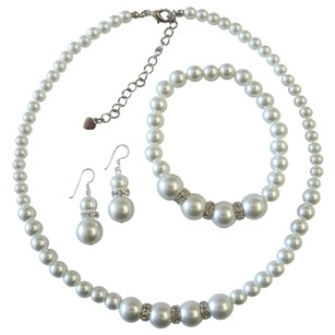 Soothing White Pearls Bridesmaids Pearl Jewelry Set White Faux Pearl Necklace Sterling Silver Earring W/ Stretchable