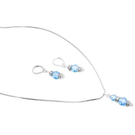 Blue Sparkling Aquamarine Clear Crystals Drop Down Pendant Earrings Jewelry Set
