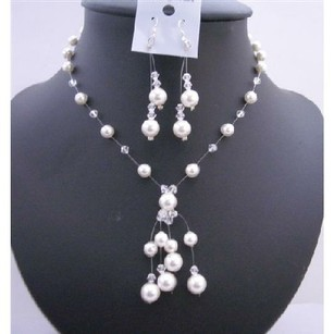 Swarovski Pearls Crystals Handmade Bridesmaid Necklace Drop Tassel