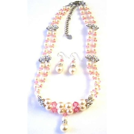 Ivory/Pink Swarovski Rose Crystals Pearls Double Stranded Necklace Jewelry Set